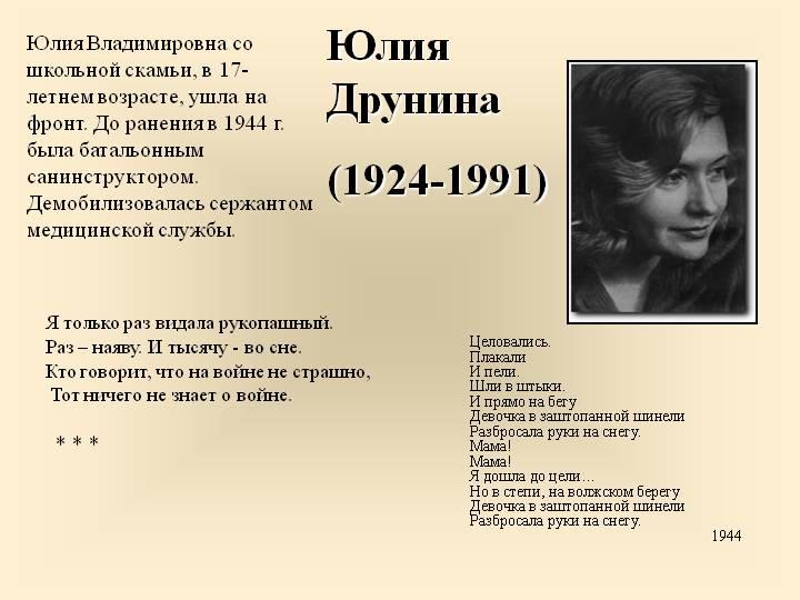 Русская поэтесса Юлия Друнина