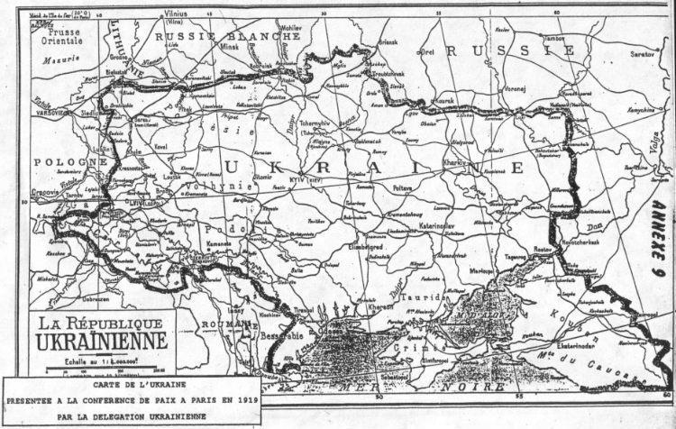 Карта Украинской республики, представленная украинской делегацией на Парижской мирной конференции, 1919 год