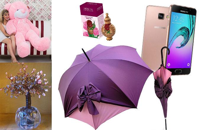Большой розовый медведь, дерево любви, розовые духи, элегантный зонт, и гаджет