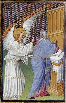 Встреча Захария и архангела Гавриила. Миниатюра из «Великолепного часослова герцога Беррийского»/