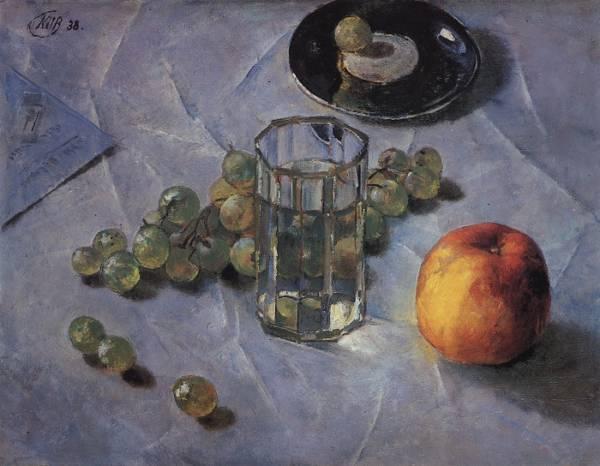 "Граненый стакан на картине Петрова-Водкина ""Виноград"", 1938 г."